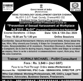 Prevention of Sexual Harassment at Workplace Act 2013 - PoSH (Prevention Prohibition and Redressal)